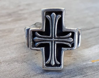 cross ring long chunky solid sterling silver cross