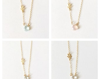 CRYSTAL LEAF mint - aqua chalcedony leaf charm necklace, dainty gold necklace, bridesmaid gift, bridesmaid necklace