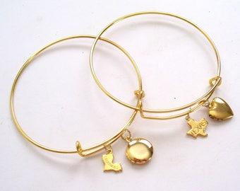 Gold State Bangle Bracelet, State Charm Bracelet, Choose Your State, Gold Charm Bracelet, State Jewelry, Optional Mini Locket