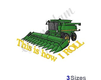 Tractor Combine - Machine Embroidery Design