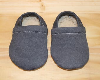Navy blue baby moccasins