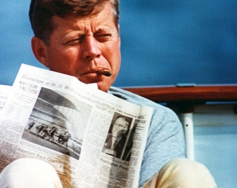 "John F. Kennedy Aboard the Presidential Yacht ""Honey Fitz"" in 1963 - 5X7 or 8X10 Photo (AA-193)"