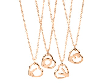 9k Solid Gold Love Letter Pendant- Initial Heart Necklace in 9k Rose Gold