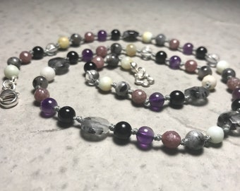 """21"""" Don't Panic EXTRA STRENGTH! ; Don't Forget Your Towel //  Anxiety // Panic Attacks // Adult Gemstone Beaded Necklace // Hand Knotted"""