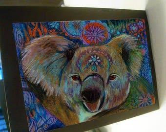 greeting card zentangle koala bear outback  Australia blank card