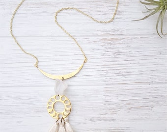 Long Tassel Necklace  Moon Phase Necklace Lunar Phase Jewelry Moon Phase Jewelry Gold Tassle Necklace Boho Summer Necklace Lunar Phase