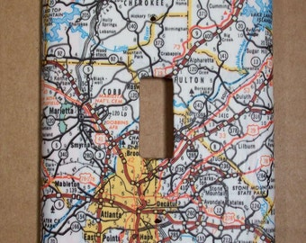 Atlanta Georgia and Surrounding Area Road Map Light Switch Plate Cover