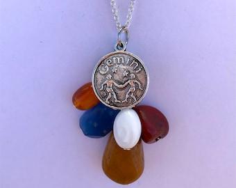 Gemini stone necklace