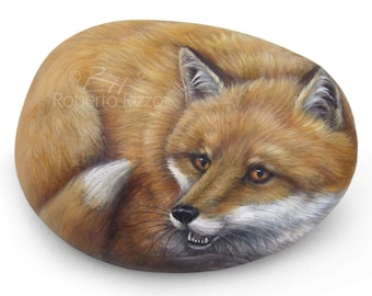 A Beach Stone Hand Painted And Transformed Into An Elegant Fox | Rock Art by Roberto Rizzo