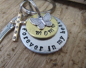 Mom memorial, Death of Mom, Sympathy gift for loss of  Mother, Butterfly charm, Mom key chain, Forever in my heart, Memorial for Mom