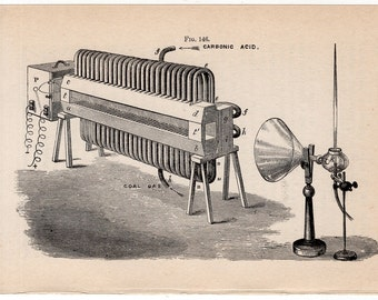 c. 1900 PHYSICS of SOUND aërial reflection  original antique science print - acoustic machine & apparatus - sound machine - science of sound