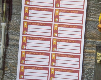 Sporting Event Stickers for Weekly Scheduler / Matte & Writeable