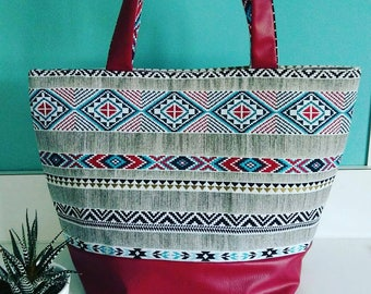 Large Burgundy ethnic tote bag