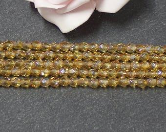 Czech glass faceted 4 mm firepolish PTC360 honey beads x 50