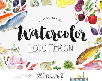 Custom Logo Design Watercolor logo fruit logo veggie food logo floral logo design boutique logo branding restaurant logo design branding