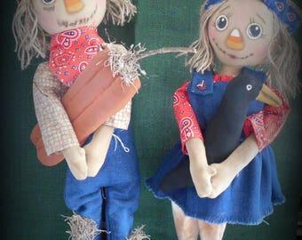 Handmade Primitive Folk Art Scarecrow Couple with pumpkin and crow