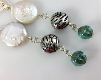 White Pearl Earring dangles, Elegant White Coin Pearls Atop Textured Silver Lentils andAqua Picasso Pumpkin Bead Drops, NE126