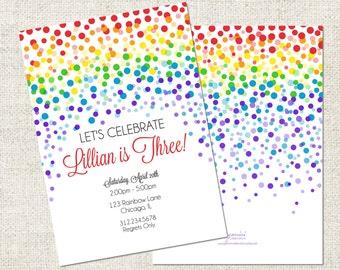 Rainbow Confetti Birthday Invitation, Printable Rainbow Invitation, Personalized Birthday Invitation