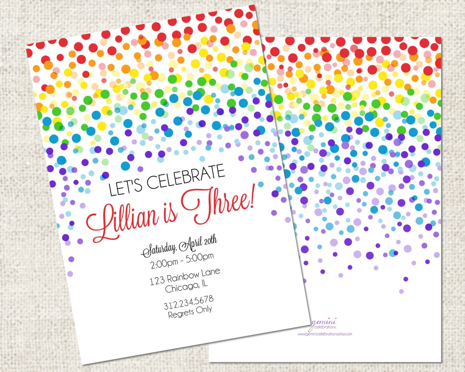 Dorable Rainbow Party Invites Pattern Invitation Card