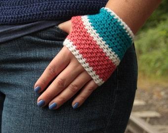 Cashmere/Merino/Silk Fingerless Handwarmers - Coral, Kingfisher Blue and White