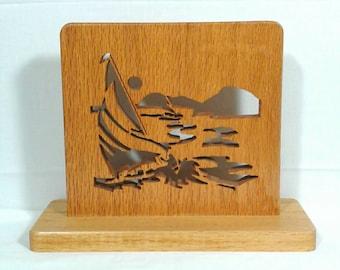 "Vintage 10"" Sailboat on Ocean Oak Wood Carving"