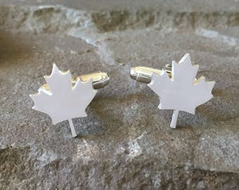 Sterling Silver Canada Maple Leaf Cufflinks, Gifts for Canadians, Canadian Grooms, Cuff links for Canadians, Leaf Cufflinks, Canada Day Gift