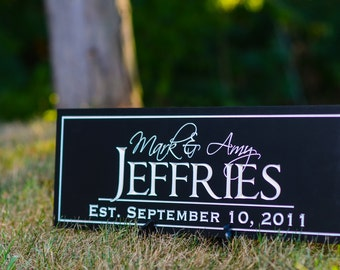 Personalized Family Name Sign Plaque Established Sign Last Name Sign 7x20 Carved Engraved