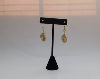 Sea Shell Gold Lined Earrings