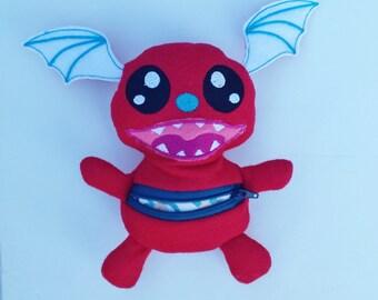 Stuffed monster, stuffed dragon, zippered pocket monster