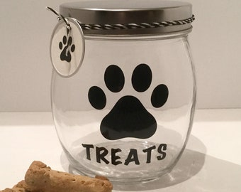 "Personalized Dog Treat Jar - Dog Treat Container - Dog Biscuit Jar - ""Treats"" Dog Treat Canister"