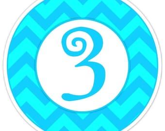 Custom First Birthday Labels, 1st Birthday Stickers, Birthday Decoration, Personalized Children Stickers, Blue Teal Chevron