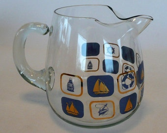 Vintage Modern Glass Pitcher with Blue and Gold Nautical Theme