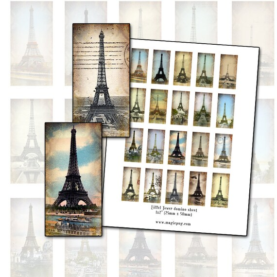 eiffel tower altered art domino digital collage sheet. Black Bedroom Furniture Sets. Home Design Ideas