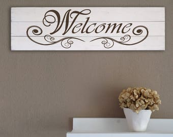 Welcome craft wooden wall panel style shabby chic modern wall decoration home décor P05
