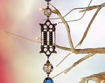 Sun Catcher, Christmas Ornament, Sapphire Blue, Crystal Filigree, 1S-4