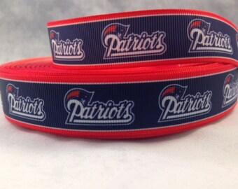"""New England Patriots Ribbon - Football Ribbon - 7/8"""" Grosgrain Ribbon by the yard, for hair bows, crafting + more! Football Ribbon - Pats"""
