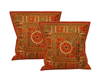 Cushion/Throw cotton accent Pillow case covers,16x16 inches,mirror embroidery,India gift,ethnic,boho,bohemian,hippie,hippy,set of 2 pcs