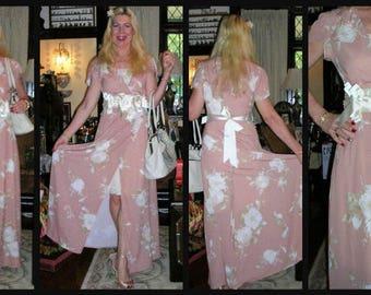 Original Vintage 3 pc. outfit including pink wrap maxi dress, Alannah Hill satin rosette belt & 70's St Michael (UK) lacy cream slip /sz: SM