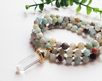 Clear Quartz Mala • Mala Necklace • Energy Necklace • Amazonite Mala 108 • Abundance Crystal • Knotted Mala • Japa Mala 108 • Yoga Gifts
