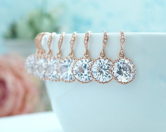 SPECIAL Price 10% OFF 4 Sets FOUR Pairs Wedding Earrings Rose Gold Earrings Rose Gold Round Cubic Zirconia Plated Earrings Bridesmaids Gifts