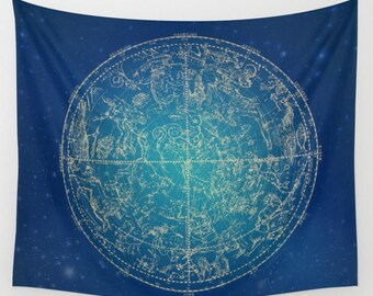 Zodiac Wall Tapestry Star Map Constellation Art Blue Tapestries Astronomer Gift Space Tapestry Outdoor Navy Blue Decor Space Art Zodiac Sign