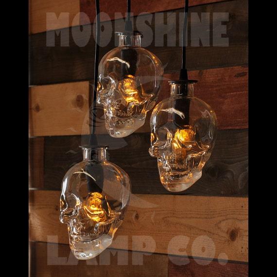Skull Bottle Chandelier 3 Light Pendant