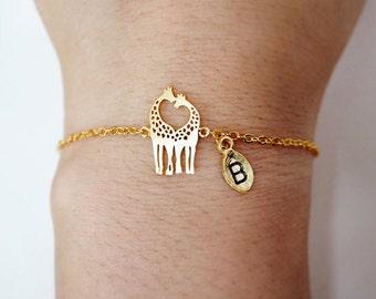 Giraffe  bracelet, Personalized bracelet, Love giraffes  bracelet, heart giraffes bracelet, giraffe charm, dainty, Loving Giraffes, animal
