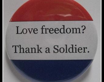 "2 1/4"" pinback button Thank A Soldier"