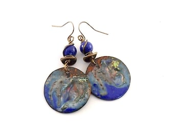 Handmade Earrings, Enameled Earrings, Metallic Blue Earrings, Swirl Earrings, Industrial Earrings, Boho Earrings, Artisan Earrings, Brass