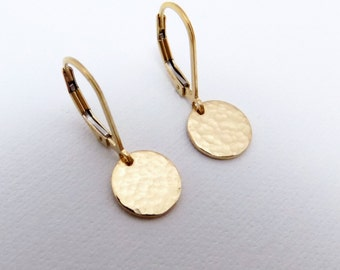 Tiny Hammered Gold Earrings. Free Shipping. 14k Gold Filled Coin Earrings. Tiny Gold Dot. Leverback Lever Back. Dainty. Minimal. 3/8""