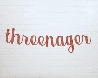 Threenager 3rd Birthday | Little Miss Threenager | 3rd Birthday Party Ideas | Threenager Birthday Banner | Cursive Threenager Banner |