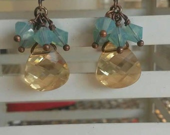 Gold swarovski briolettes with pacific opal accents