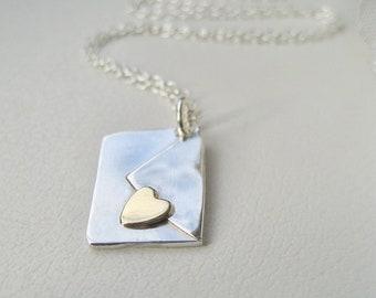 Gold Heart Envelope Necklace,Handmade Silver Envelope Necklace,Love Letter,Love Message Necklace,Letter Pendant Necklace,Love Gift For Her