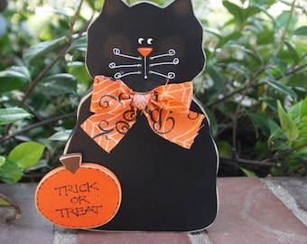 Halloween Black Cat with Pumpkin - Wood Decoration - Shelf Sitter